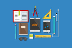 Education and Tools Icons Flat Design Vector Illustration Element Icons Set Stock Image