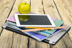 Education Tools. Ipad Book Textbook Classroom Homework Studying Royalty Free Stock Image