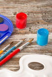 Education tools for schools. Special painting tools on wooden background, education tools for schools Royalty Free Stock Photography