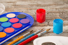 Education tools for schools. Special painting tools on wooden background, education tools for schools Stock Photography