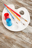 Education tools for schools. Special painting tools on wooden background, education tools for schools Royalty Free Stock Images