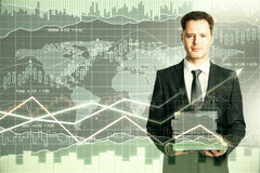 Education and trade concept. Man with book pile on forex chart background. Education and trade concept Stock Photo