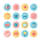 Education and Training. 16 Flat Icons Set Royalty Free Stock Images