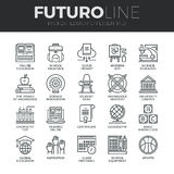 Education and Training Futuro Line Icons Set. Modern thin line icons set of basic education training and studying online. Premium quality outline symbol Royalty Free Stock Photos