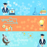 Education and Training teacher chemistry banners Stock Photography