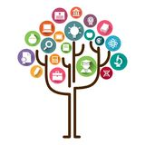 Education tree concept learning.Education icons and tree vector illustration. Education tree with learning icons vector stock image. Tree of education vector royalty free illustration