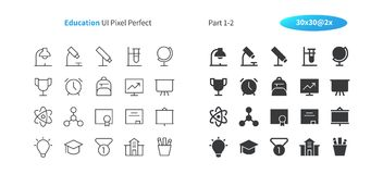 Education UI Pixel Perfect Well-crafted Vector Thin Line And Solid Icons 30 2x Grid for Web Graphics and Apps. Simple Minimal Pictogram Part 1-2 Royalty Free Stock Photography