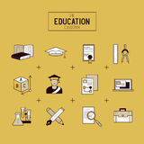 Education Vector Icon Set Stock Photo
