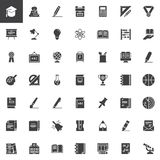 Education vector icons set. Modern solid symbol collection, filled style pictogram pack. Signs, logo illustration. Set includes icons as Graduation cap, Apple royalty free illustration