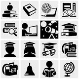 Education vector icons set on gray. Royalty Free Stock Photography