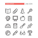 Education Vector Icons Set with red ribbon for tex. Education Vector Icons Set Isolated On The White Background Stock Images
