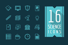 Education vector icons set. Science, students or Royalty Free Stock Photo