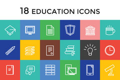Education vector icons set. Science, students or Royalty Free Stock Image