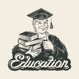 Education vector logo design template. Graduate Stock Photos