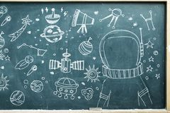 The space station Drawing on a blackboard royalty free stock images