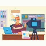 Education video blog filming backstage concept. Creating video tutorials.Flat vector illustration. Education video blog filming backstage concept.Social network Royalty Free Stock Images