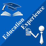 Education Vs Experience. Image with two parts for education and experience each Stock Images