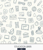 Education wallpaper. Black and white school or university seamless pattern. Stock Image