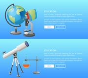 Education Web Banner with Geography and Astronomy. Classes informative Internet page with globe model and powerful telescope vector illustrations Stock Photography