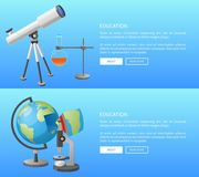 Education Web Banner with Geography and Astronomy. Classes informative Internet page with globe model and powerful telescope vector illustrations Royalty Free Stock Photography