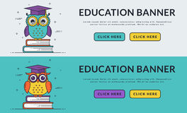 Education web banners with smart owl. royalty free illustration