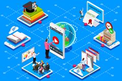 Education web certificate meeting conference. Education conference and meeting web certificate on isometric device. Education illustration for banner Stock Image