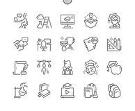 Education Well-crafted Pixel Perfect Vector Thin Line Icons 30 2x Grid for Web Graphics and Apps. Simple Minimal Pictogram Stock Image