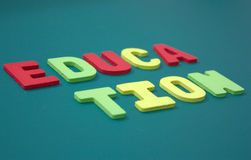 Education with wooden alphabet Stock Image