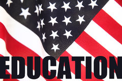 Education word on American flag Stock Image