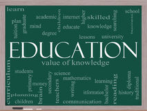 Education Word Cloud Concept on a blackboard Royalty Free Stock Images