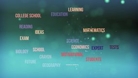 Education word cloud text animation stock video footage