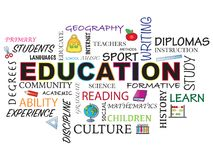 Education word bacground. Education word concept illustration with icons Royalty Free Stock Images