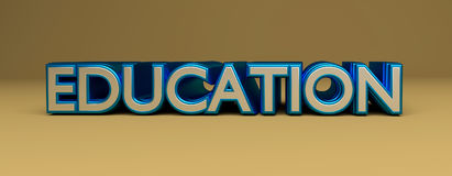 3d rendered education word. Education word 3d rendering royalty free illustration