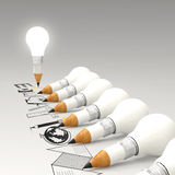 EDUCATION  word and light bulb 3d Stock Image