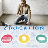 Education Word Lightbulb Hat Book Icon Graphic Concept Stock Photo