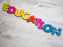 Education. Word education spelled in colourful alphabet letters Royalty Free Stock Photos
