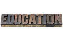 Education word in wood type Royalty Free Stock Photography