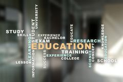 Education words cloud on the virtual screen. Education words cloud on the virtual screen royalty free stock images