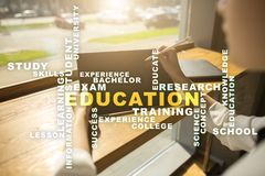 Education words cloud on the virtual screen. Education words cloud on the virtual screen royalty free stock photo