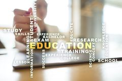 Education words cloud on the virtual screen. Education words cloud on the virtual screen royalty free stock photos