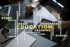 Education words cloud on the virtual screen. Education words cloud on the virtual screen stock photography