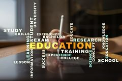 Education words cloud on the virtual screen. Education words cloud on the virtual screen stock image