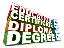 Education words. Education related words like degree diploma certificate phd, on white background Stock Photos