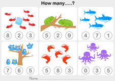 Education worksheet - Counting object for kids Stock Images