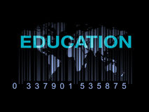 Education on the world map with barcode (quality of education) Royalty Free Stock Photo
