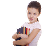 Education, Young beautiful schoolgirl holds textbooks Royalty Free Stock Photography