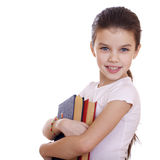 Education, Young beautiful schoolgirl holds textbooks Stock Image