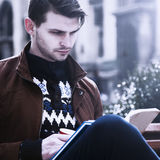 Education. Young male student preparing for exams. selfdevelopm. Ent, learning, success concept Stock Images