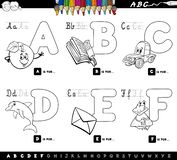 Educational alphabet letters coloring book vector illustration