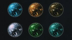 Six different colorful planets in rows spinning over starry dark space.